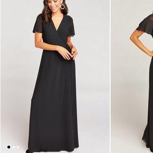 Noelle flutter sleeve wrap dress